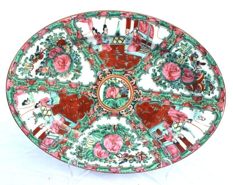 "Rose Medallion platter - 14"" x 10 3/4"""