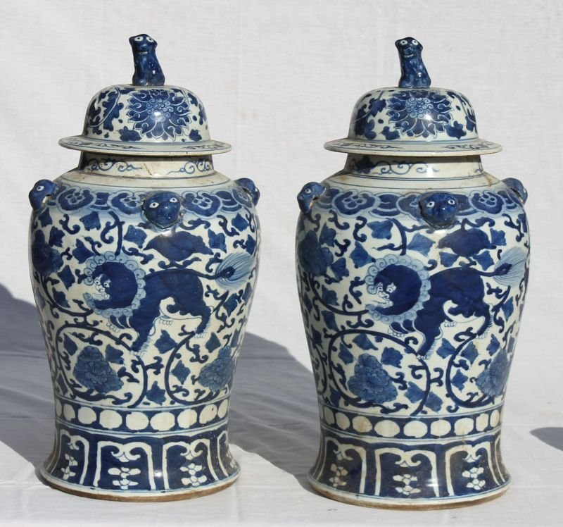 pr of late 19thC Chinese blue & white porcelain covered