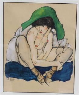 """Egon Schiele (1890-1918) 16""""x12"""" mixed media w/c &"""