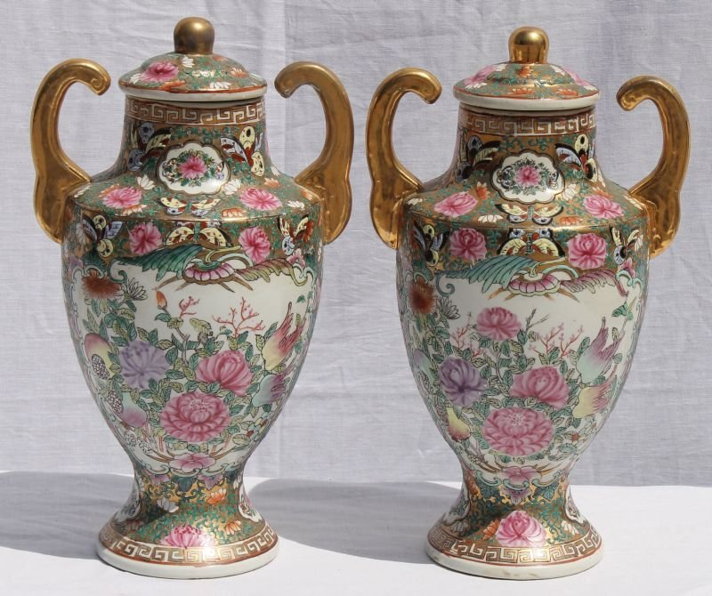 pretty pair of 20thC Chinese Rose Medallion 2 handled