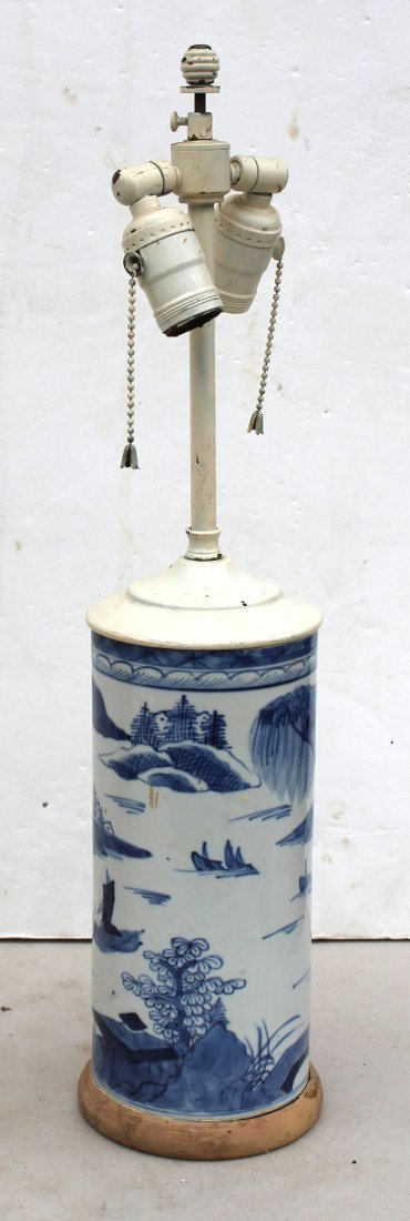 antique Chinese blue & white brush pot converted to a