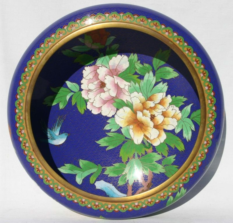 large antique Chinese cloisonne bowl w floral dec - 12