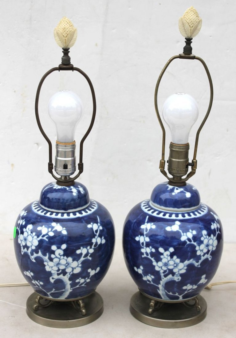 pr of Chinese blue & white porcelain table lamps w