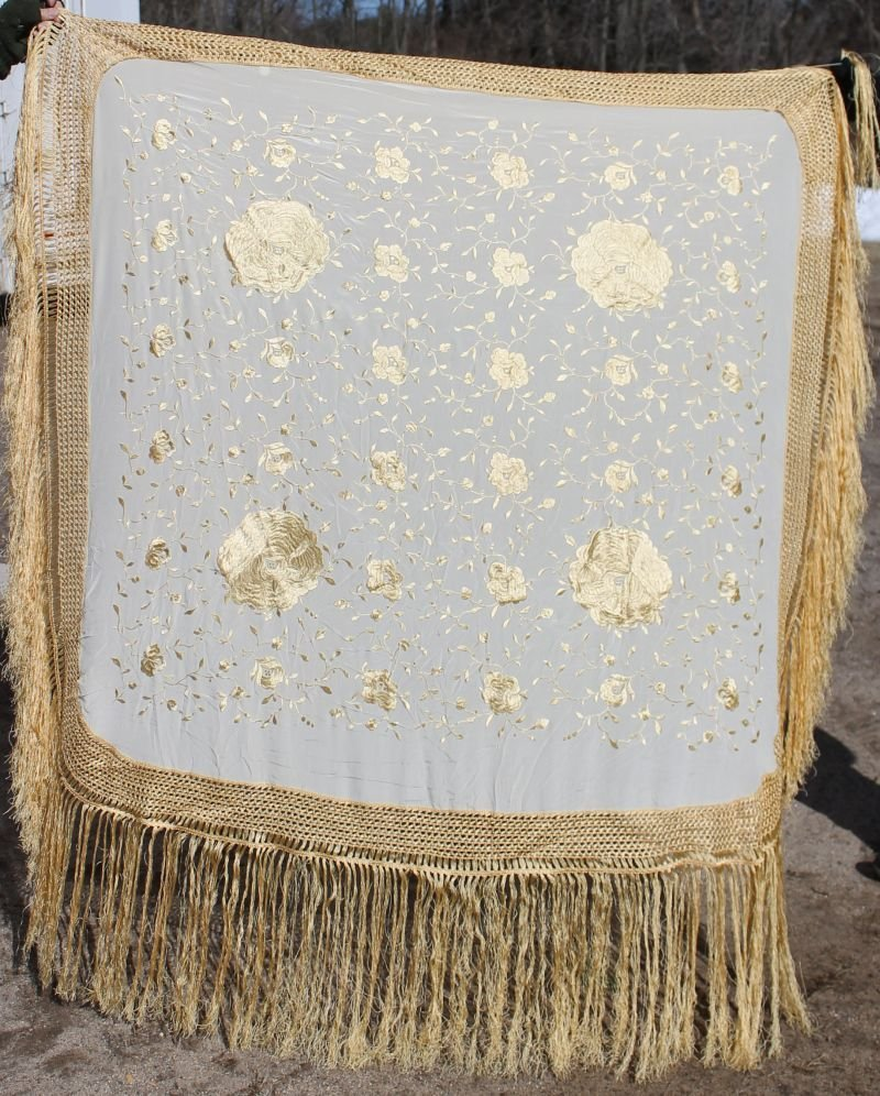 antique Chinese silk piano shawl w gold colored silk