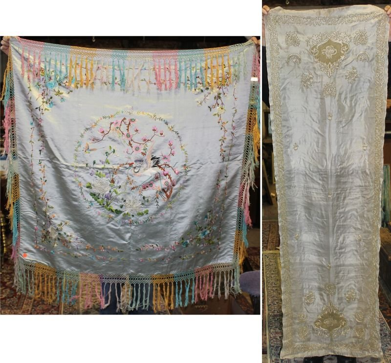 lot of 2 antique silks - Chinese 4 1/2' square w multi