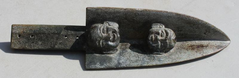 Oriental translucent carved jade sceptor w 2 figural