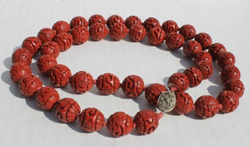 fine Chinese cinnabar beaded necklace w sterling silver