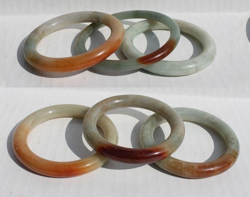 lot of 6 Chinese jade bangle bracelets