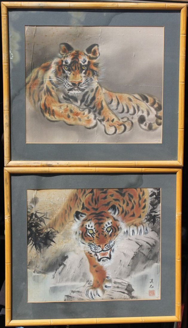 """pr of Asian 13""""x16"""" w/c's on silk paintings of tigers"""