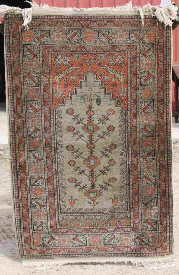 "4'4""x2'10"" semi-antique silk Kayseri Oriental area rug"
