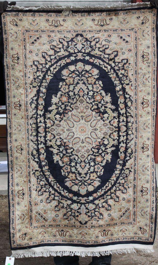 """5'x3'2"""" semi-antique fine silk woven sgnd Oriental area"""