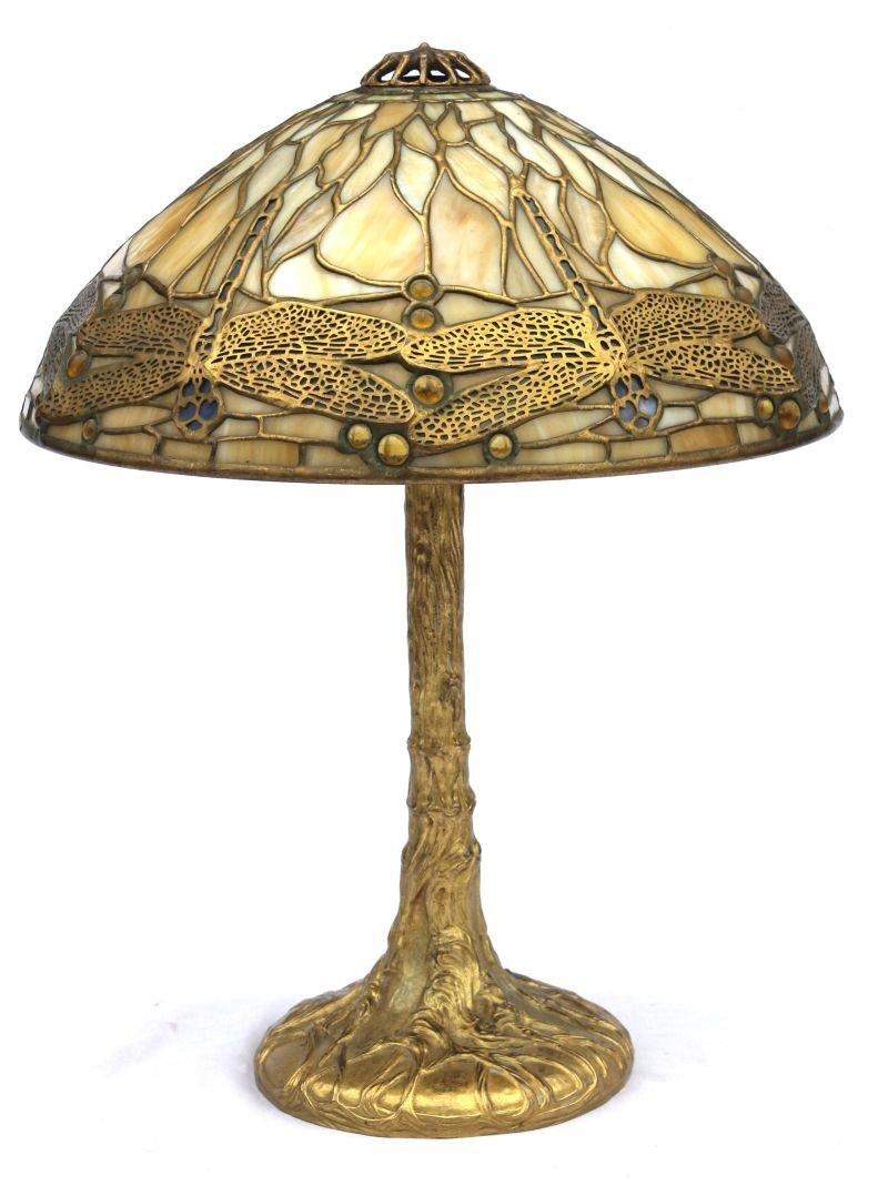 """Important & spectacular sgnd Tiffany 14"""" dragonfly lamp"""