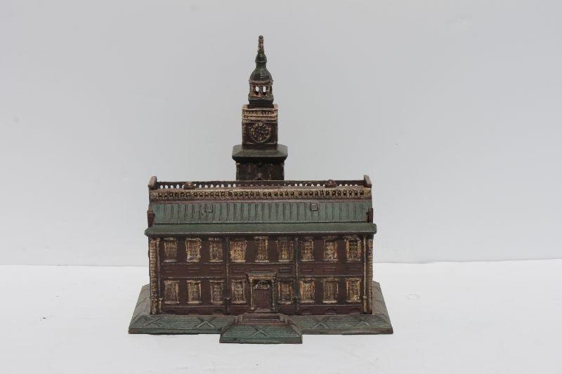 "ca 1930 cast iron ""Independence Hall"" mechanical bank"
