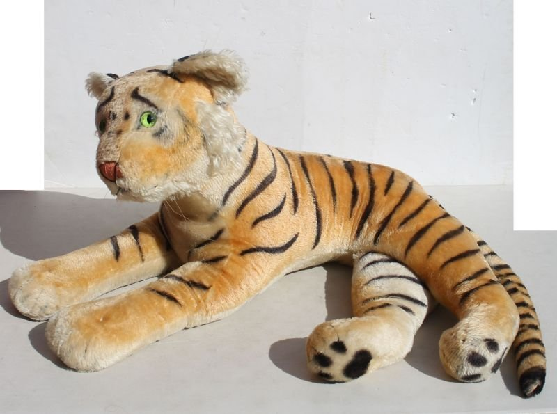 Very large vintage Steiff mohair tiger w glass eyes &