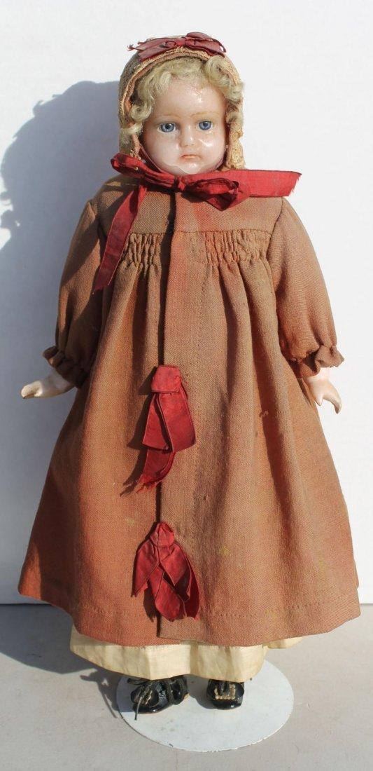 ca 1870-80 poured wax, shoulder head doll w glass sleep