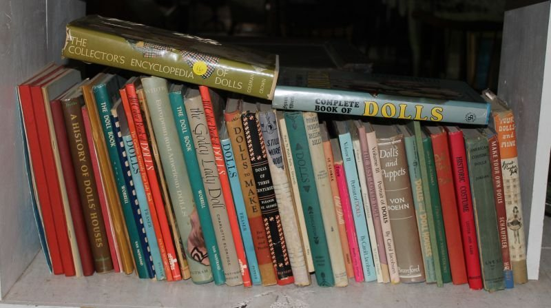 """Large lot of doll reference books incl """"Spinning Wheels"""