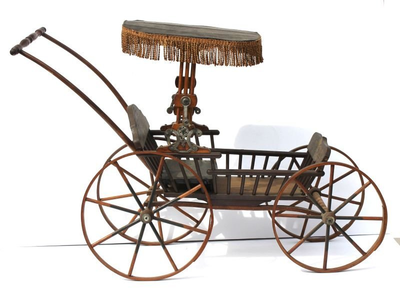 Ca 1880 child's doll carriage w orig stencilling &
