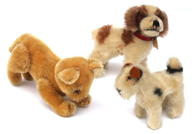 """Lot of 3 small vintage Steiff small animals incl 5"""" dog"""