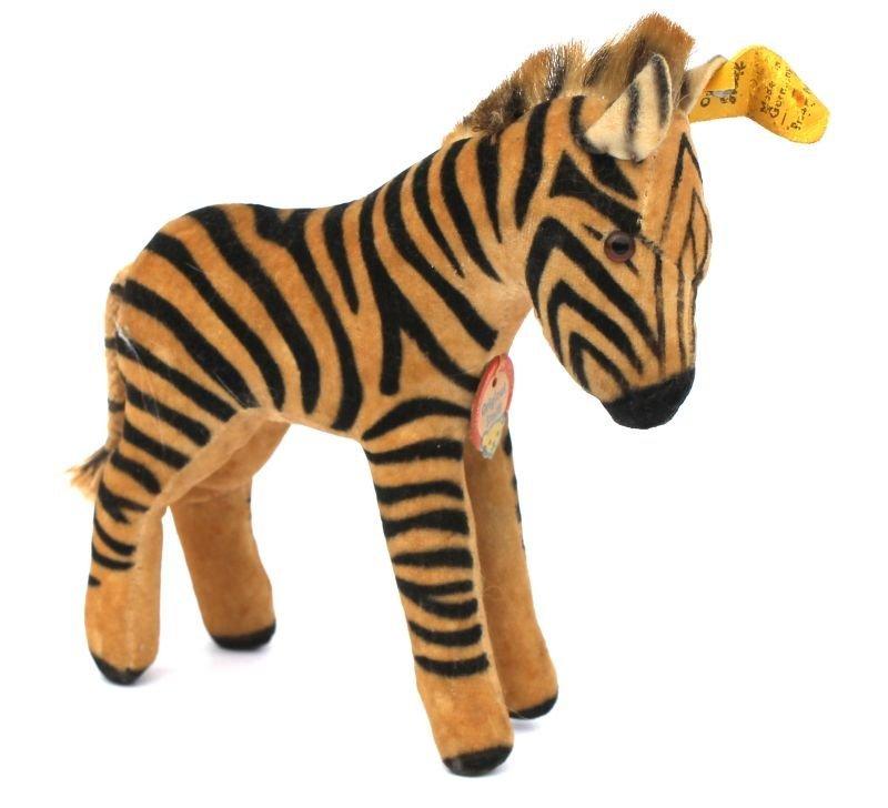 Vintage Steiff mohair zebra w glass eyes, orig tag &