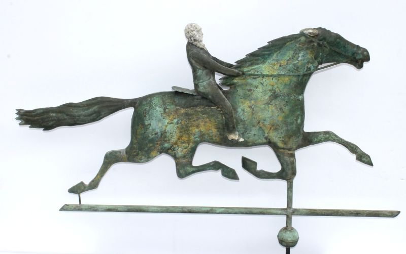 Outstanding ca 1870-80 horse & rider weathervane in the