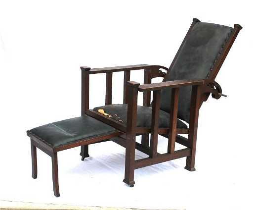 - Rare Sgnd Hunzinger Antique Oak Reclining Morris Chair