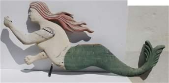 large wooden carved rare mermaid form Folk Art