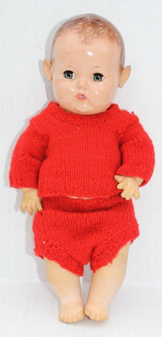 """ca 1940 Effanbee 12"""" Dy-Dee Baby doll w rubber head,"""