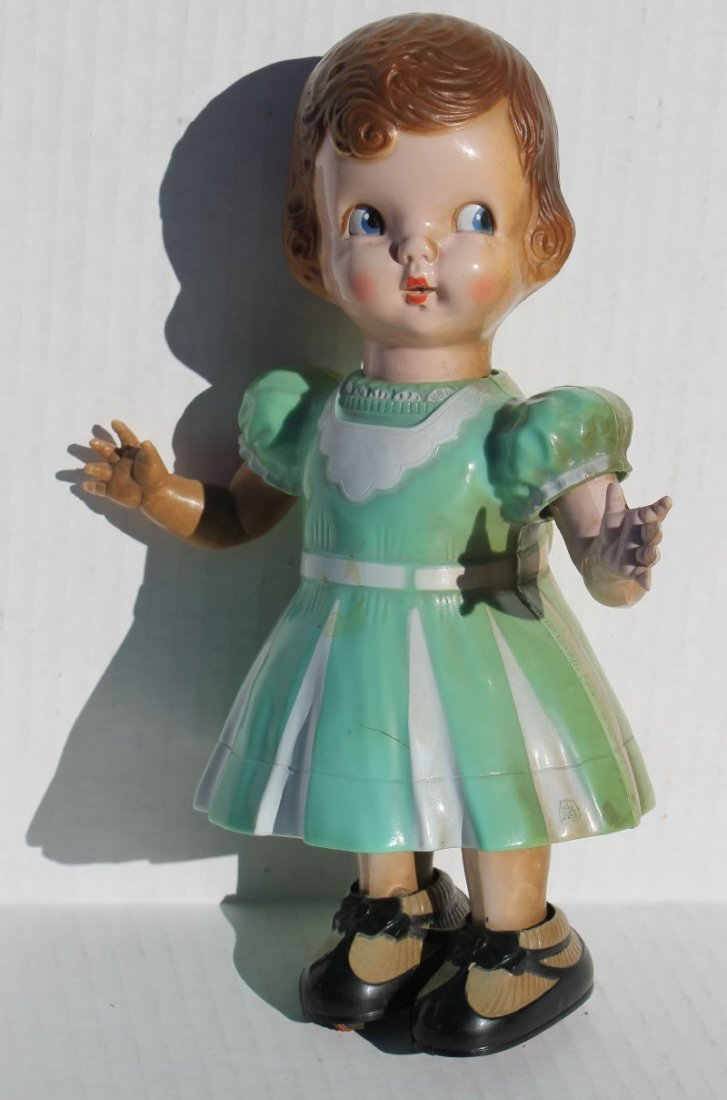 Rare ca 1950's Irwin hard plastic mechanical doll -