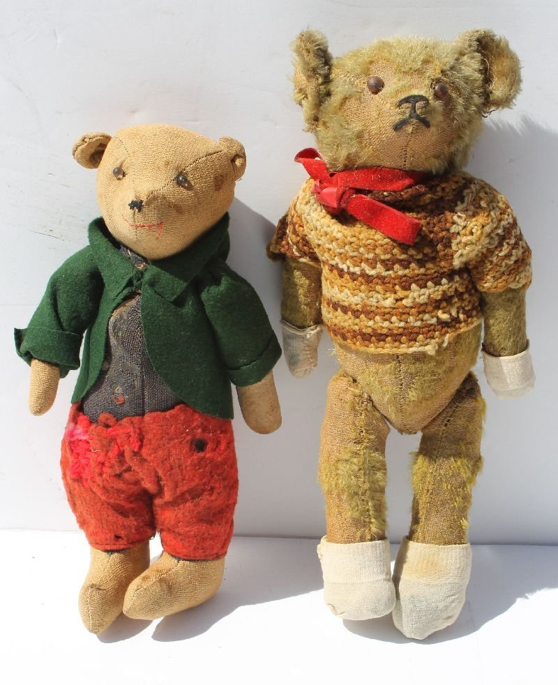 2 antique jointed American teddy bears in old clothing