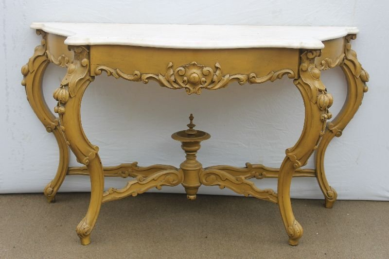 Outstanding Victorian carved walnut marble top pier