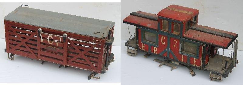 lot of 2 antique large folk art wooden carved train