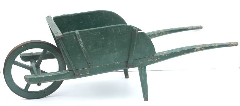 19thC child's wooden wheelbarrow w removable side slats