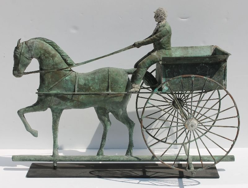 Important 19thC copper hackney horse pulling carriage