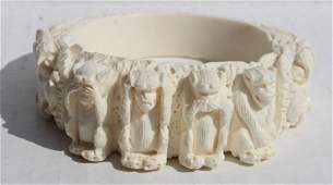 Chinese carved ivory bangle bracelet featuring dragon &