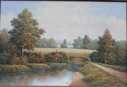 "sgnd P. Wilson 24""x36"" o/c landscape w bridge & river -"