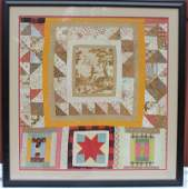 antique baby quilt collage type nicely framed
