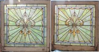fine pair of antique stained/leaded glass windows with