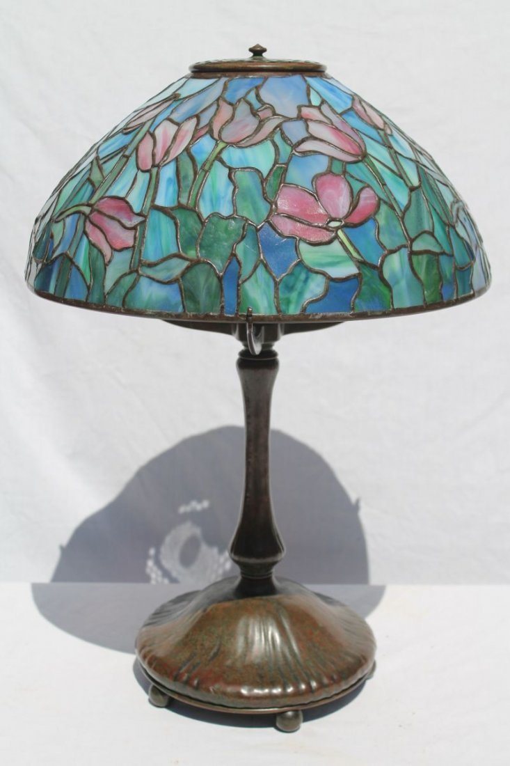 "Fabulous fully sgnd Tiffany 16"" full floral Tulip lamp"