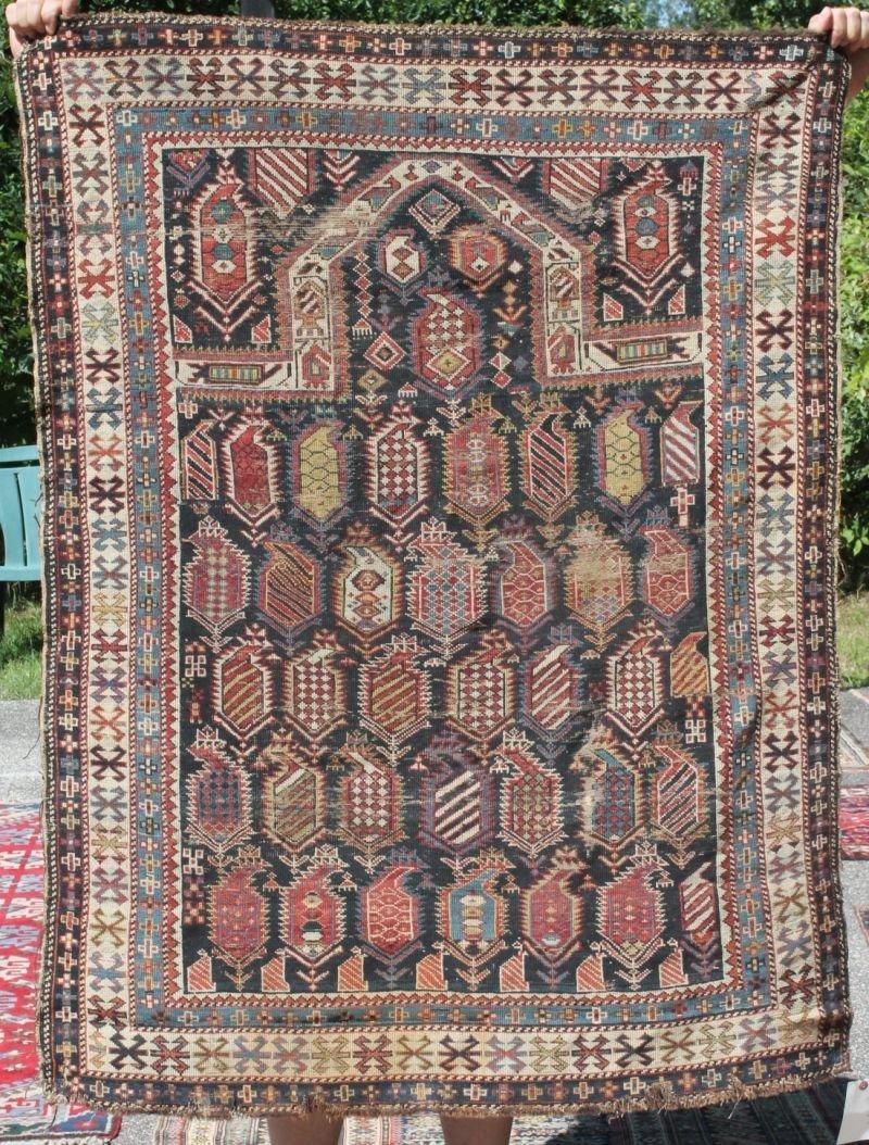 """3'6""""x4'9"""" antique Caucasian Oriental Prayer rug"""