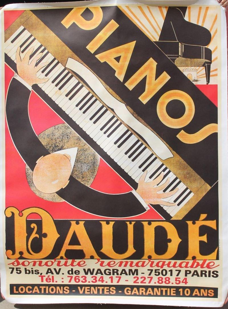 """very large 62""""x47"""" Parisian poster """"Pianos Daude"""" w"""