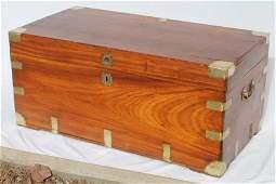 large 19thC camphorwood trunk w brass trim  carrying