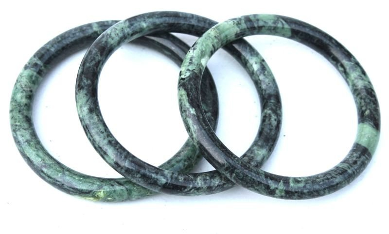 set of 3 Chinese carved spinach jade bangle bracelets -