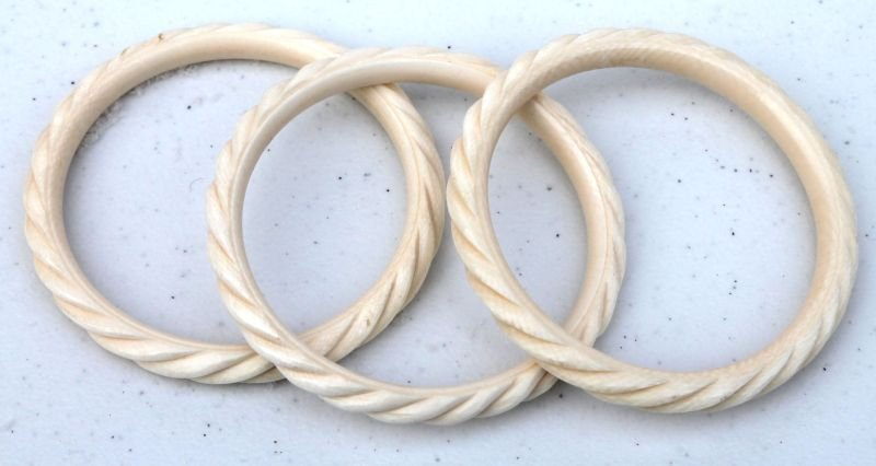 set of 3 Chinese carved ivory rope twist bangle