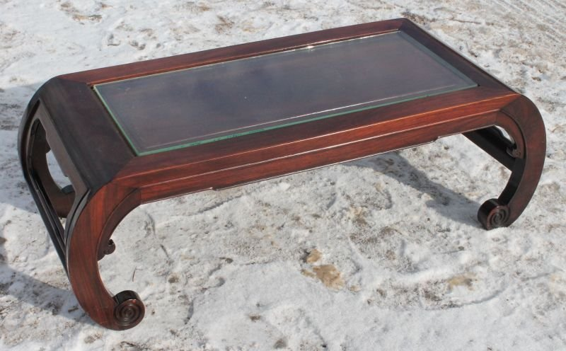 "Chinese rosewood low table w glass inset top - 39"" long"