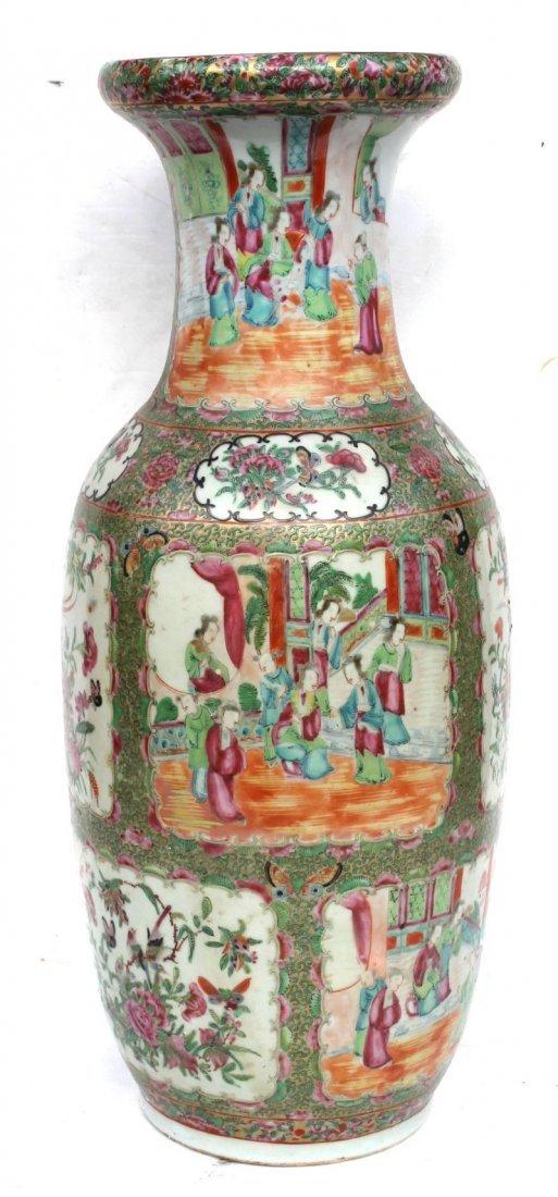 "19thC Chinese Export Rose Medallion vase - 24"" tall"