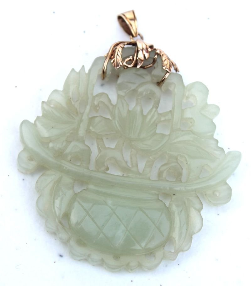 Chinese white jade coin pendant w vase of flowers dec &