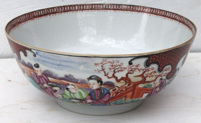 Antique Chinese large hand painted porcelain bowl - 11