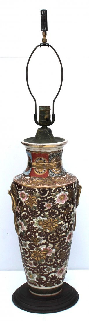 antique Satsuma porcelain table lamp - overall height
