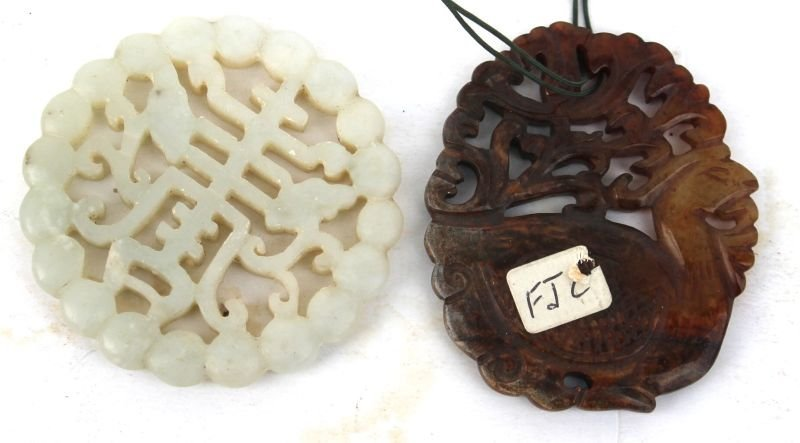 """2 Chinese jade pendants incl a 2 1/4"""" x 1 3/4"""" brown"""