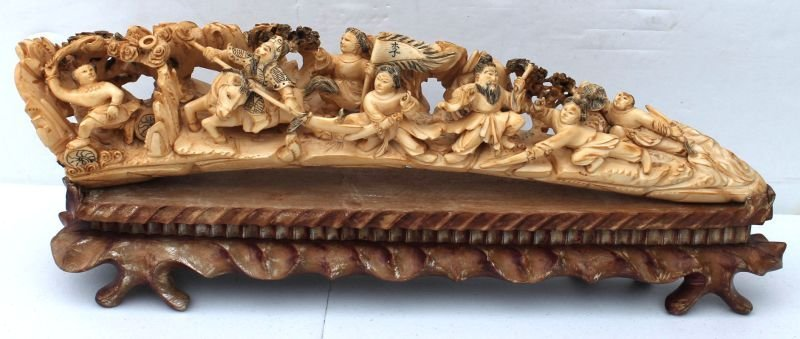 large Chinese elaborately carved ivory tusk on stand -